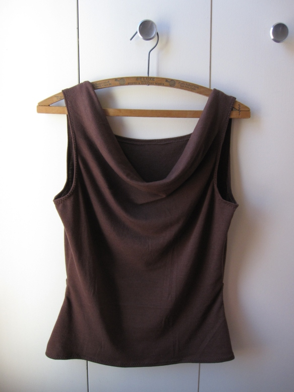 Brown cowl neck tank top